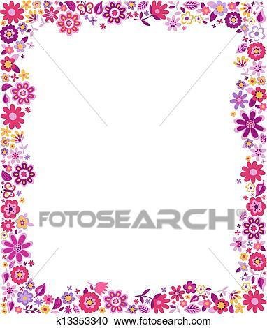 Clipart of fuchsia pink flowers border pattern k13353340 search clipart fuchsia pink flowers border pattern fotosearch search clip art illustration murals mightylinksfo