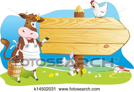 Funny farm animals wooden signboard Clipart | k14502031 ...