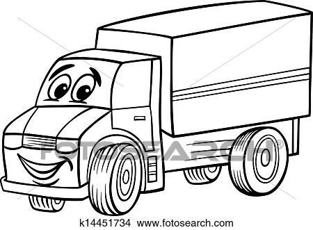 Funny truck cartoon for coloring book Clipart | k14451734 ...