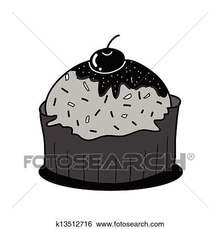 Gâteau Tasse Croquis Dans Noir Blanc Clipart