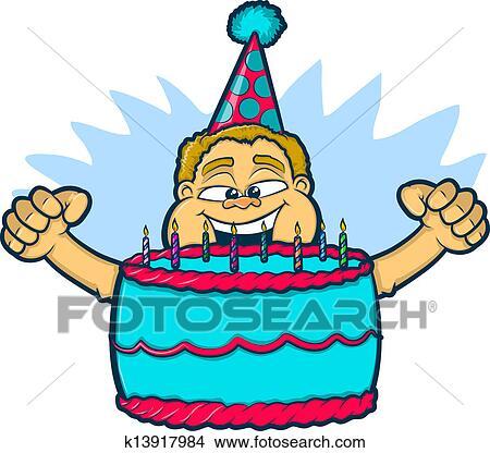 Clipart Geburtstag Junge Mit Kuchen K13917984 Suche Clip Art