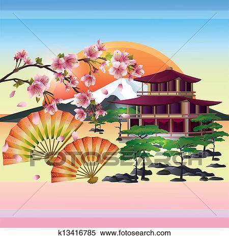 Clipart giapponese fondo con sakura giapponese for Sakura albero