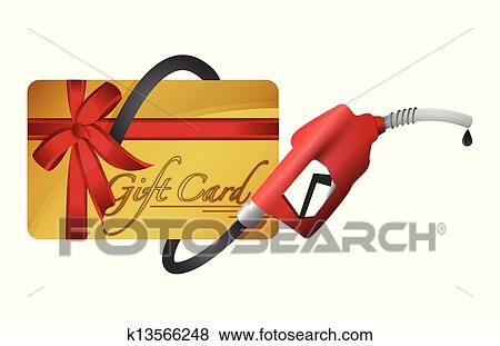 Clip Art Of Gift Card With A Gas Pump Nozzle K13566248 Search