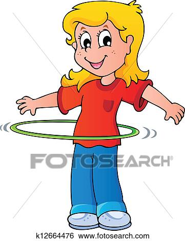 clip art of girl exercise with hula hoop k12664476 search clipart rh fotosearch com hula clipart free hula hoop clipart free