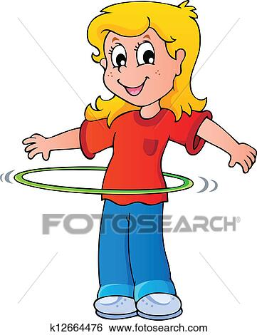clip art of girl exercise with hula hoop k12664476 search clipart rh fotosearch com hula girl clipart free hula girl clipart graphics