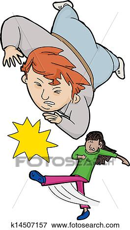 clip art of girl tripping boy k14507157 search clipart rh fotosearch com clipart of girl and boy clipart cute girl and boy