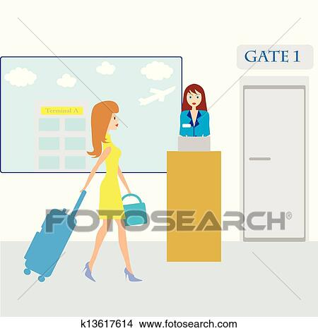 Clipart Of Girl With Suitcase In Airport K13617614