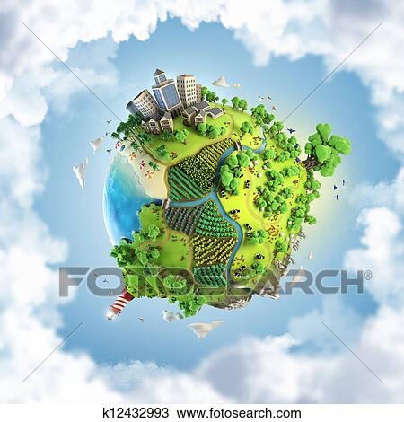 Drawing Of Globe Concept Of Idyllic Green World K12432993 Search