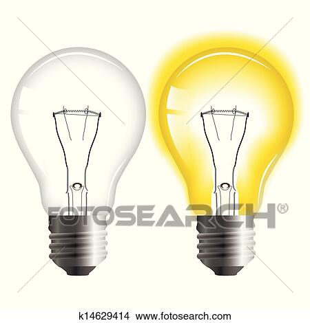 Clipart Of Glowing And Turned Off Light Bulb K14629414 Search Clip