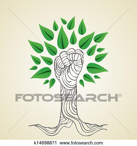 Go Green Hand Concept Tree Clipart K14698871 Fotosearch