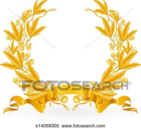 clipart of gold laurel wreath vector k14058305 search clip art rh fotosearch com laurel wreath clipart free gold laurel wreath clipart
