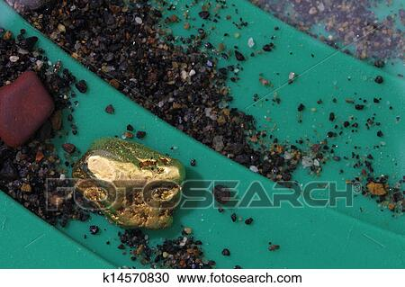 Stock Photography Of Gold Nugget In Riffles Pan K14570830