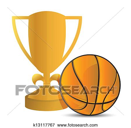 Clip Art Of Gold Trophy Cup Basketball K13117767
