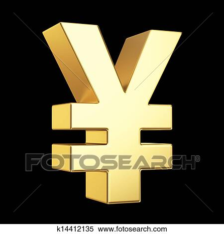 Stock Illustration Of Golden Currency Symbol Isolated On Black With