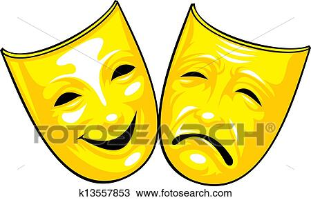 clipart of golden masks from theatre k13557853 search clip art rh fotosearch com Theater Clip Art Black and White theater masks clipart black and white