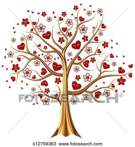 Drawing - golden tree with hearts and flowers. Fotosearch - Search Clipart, Illustration,