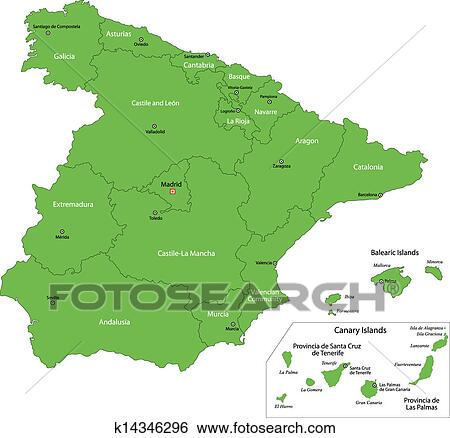 Karta Pa Spansk.Gron Spanien Karta Clipart K14346296 Fotosearch