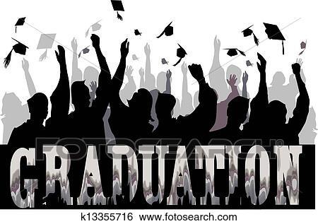 Clip Art Of Graduation Celebration In Silhouette K13355716
