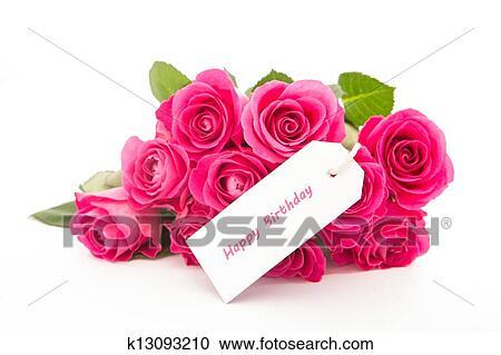 Grand Plan De A Bouquet De Roses Roses à A Joyeux Anniversaire Vide Jour Carte Sur A Fond Blanc Banque D Image