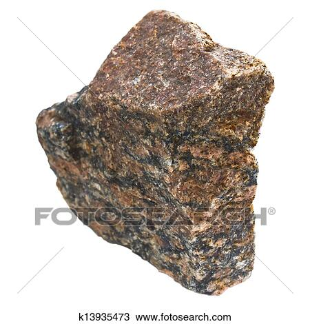 Granite Brown Stone Isolated On White Background In My Portfolio Have More Photos Of Stones Clipping Path Stock Image