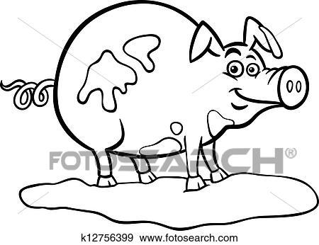 Clip Art - granja, cerdo, caricatura, para, libro colorear k12756399 ...
