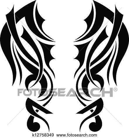 clip art of graphic design tribal tattoo wings k12758349 search rh fotosearch com tribal clipart png tribal clip art designs free