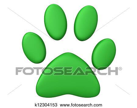 Green Paw Print Drawing