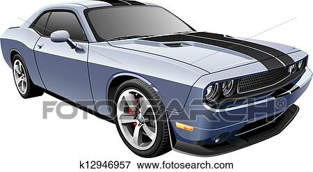 Clip Art Of Grey Muscle Car K12946957 Search Clipart Illustration