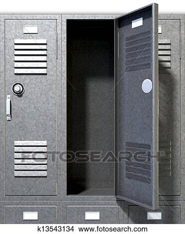 open door drawing perspective. A Perspective View Of A Stack Grey Metal School Lockers With Combination  Locks And One An Open Door On Isolated Background Drawing