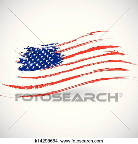 Grungy American Flag Background Clipart