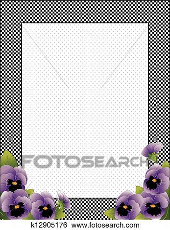 Clip Art - guinga, cheque, marco, pensamiento, flores k12905176 ...