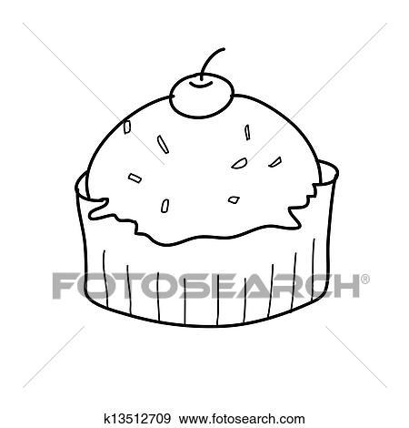 Hohlen Kuchen Skizze In Schwarz Weiss Clip Art K13512709