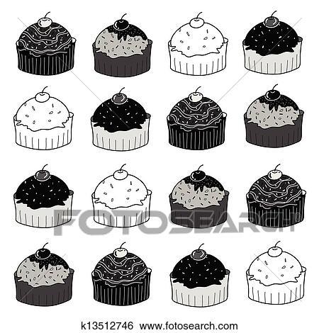 Clip Art Hohlen Kuchen Skizze In Schwarz Weiss K13512746 Suche