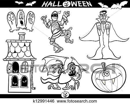 Clip Art Halloween Karikatur Themen Für Ausmalbilder K12991446