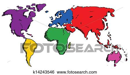 Clip Art of Hand drawn world map k14243546 - Search Clipart ...