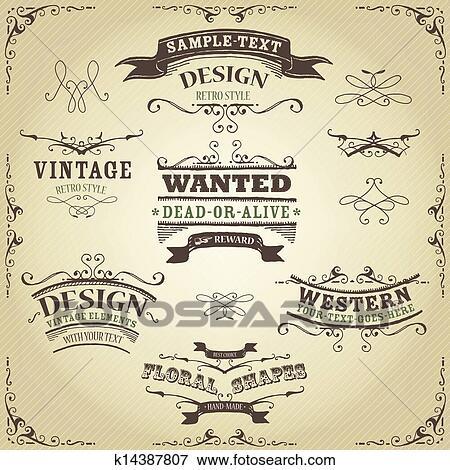 Clip Art - hand, gezeichnet, westliche, banner, und, bänder ...