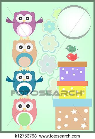 Stock Illustration Of Happy Birthday Card With Cute Owls And Gift