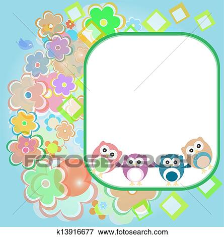 Stock Illustration Of Happy Birthday Card With Cute Owls K13916677