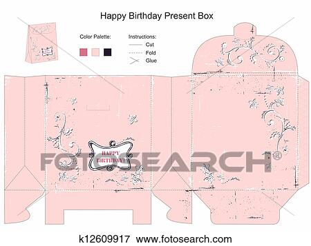 Stock Illustration Of Happy Birthday Gift Box Template K12609917