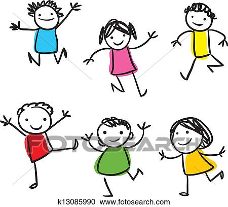 clipart of happy kids jumping k13085990 search clip art rh fotosearch com
