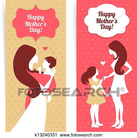 Clipart Of Happy Mothers Day Banners Beautiful Silhouette