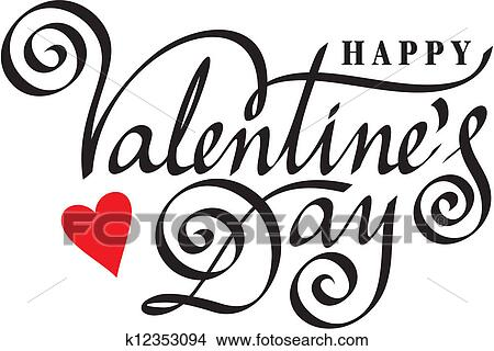 Clipart Of Happy Valentine Day Hand Lettering K12353094 Search
