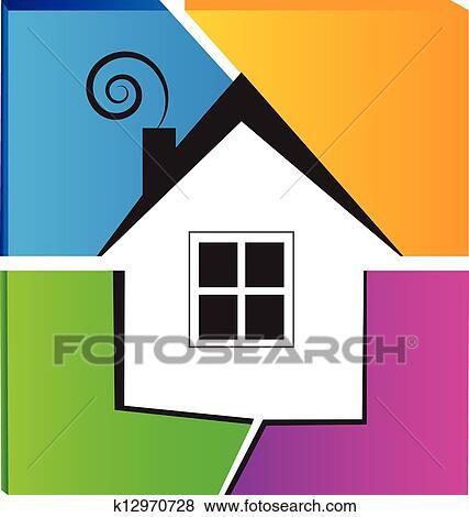 Clip Art Haus Und Zerbrochenes Wand Logo K12970728 Suche