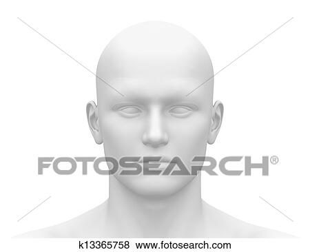 stock illustration of head front face frontal view k13365758