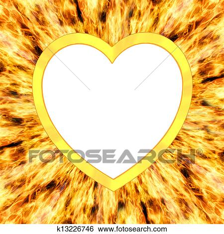 Stock Illustration of Heart shaped frame on flame background ...