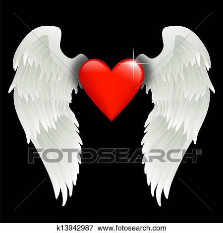Clip Art Of Heart With Angel Wings K13942987 Search Clipart