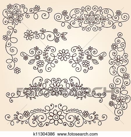 Clip Art Of Henna Vines Frame Borders Vector K11304386 Search