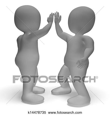 Stock image of high five 3d characters shows friendship and greeting high five 3d characters show friendship and greeting m4hsunfo