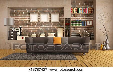 Stock Illustraties - hippe, bankstel, in, een, ouderwetse, woonkamer ...