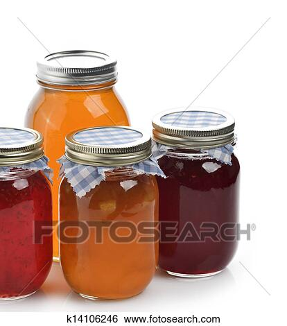 Homemade Marmalade, Jam And Honey In Glass Jars